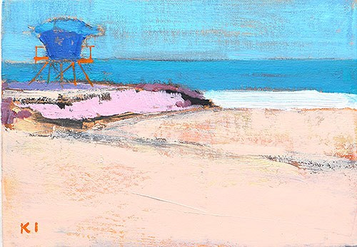 """Lifeguard Tower, Ocean Beach"" original fine art by Kevin Inman"
