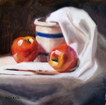 """Apples and Crock"" original fine art by Cindy Haase"