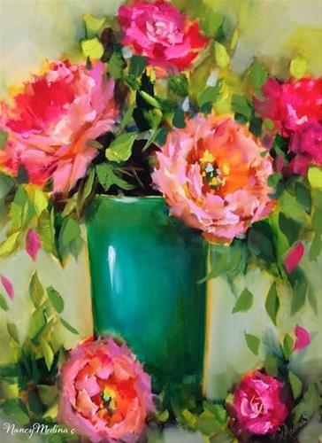 """Pinkalicious Peonies and a December Flower Painting Workshop by Floral Artist Nancy Medina"" original fine art by Nancy Medina"
