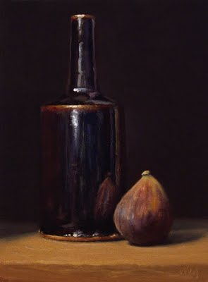 """Still Life with Fig and Tenmoku Bottle"" original fine art by Abbey Ryan"