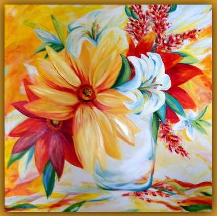 """BOLD-BRIGHT-FLOWERS"" original fine art by Dana C"