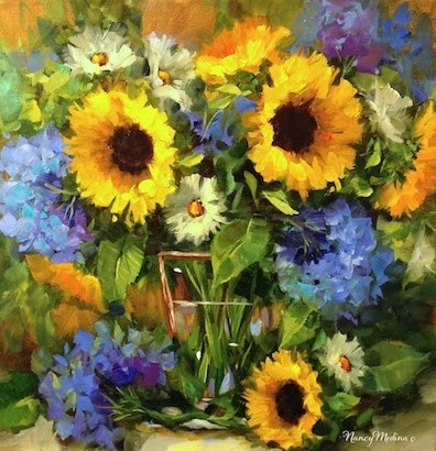 """True Blue Hydrangeas and Sunflowers by Floral Artist Nancy Medina"" original fine art by Nancy Medina"