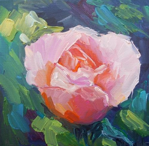 """Rose Painting, Floral Still Life, Daily Painting, Small Oil Painting 8x8x1.5 Oil"" original fine art by Carol Schiff"