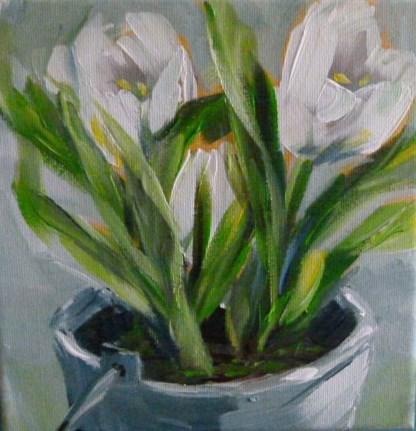 """""""Tulpen im schmucken Eimer"""" original fine art by Sabine Hüning"""
