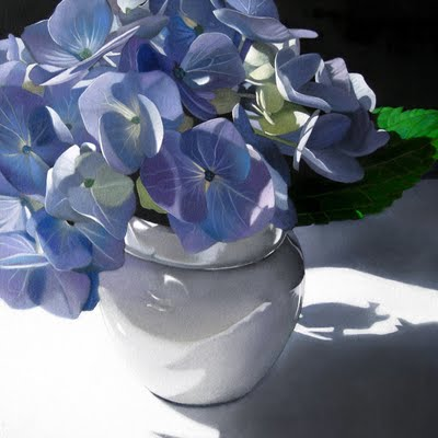 """Blue Hydrangea 8x8"" original fine art by M Collier"
