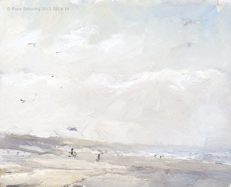 """Seascape winter 14 Wind, light and birds (available)"" original fine art by Roos Schuring"