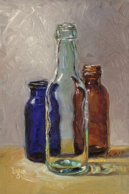 """Bottle Trio #3"" original fine art by Raymond Logan"
