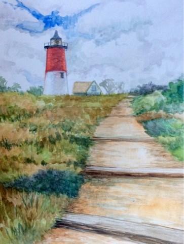 """Nauset lighthouse"" original fine art by Hilary J. England"