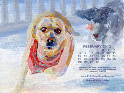 """February Desktop Calendar"" original fine art by Kimberly Santini"