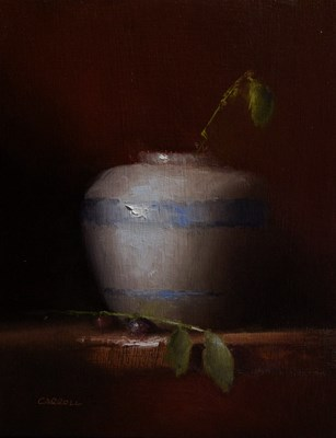 """Vase with Leaves"" original fine art by Neil Carroll"
