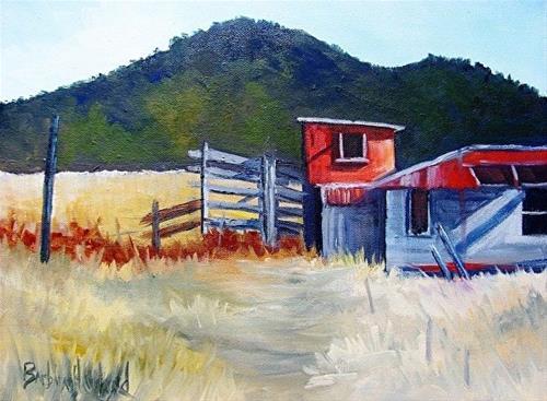 """""""Red Shed Workshop #42"""" original fine art by Barbara Haviland"""