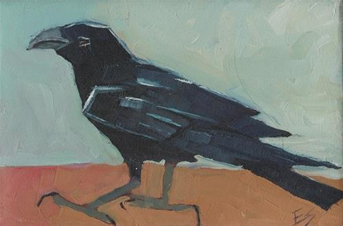 """Raven on Block"" original fine art by Elizabeth See"