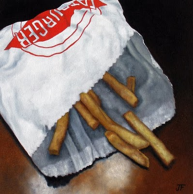 """French Fry Study - Remnants"" original fine art by Jelaine Faunce"