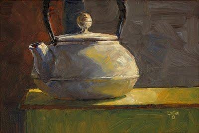 """White Teapot"" original fine art by Raymond Logan"