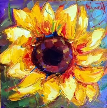 """CONTEMPORARY TEXTURED SUNFLOWER by OLGA WAGNER"" original fine art by Olga Wagner"