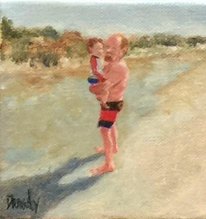 """Man Holding Baby on the Beach"" original fine art by Stephanie Drawdy"