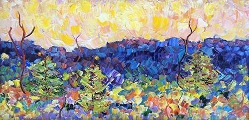 """Impressionism Colorado Landscape Painting Christmas in the Canyon  by Colorado Impressionist Judit"" original fine art by Judith Babcock"