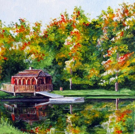"""Gazebo at the Lake"" original fine art by Nan Johnson"