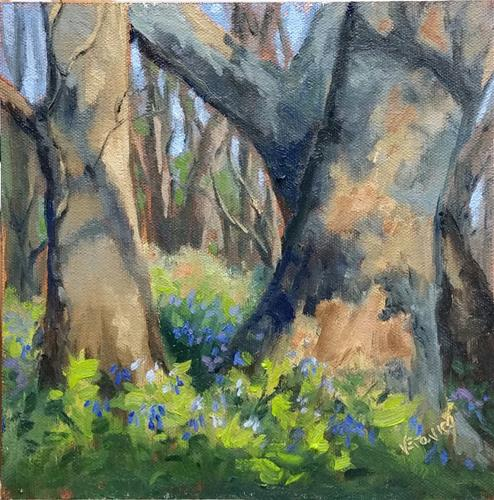 """Bluebells at Meramec state Park-en plein air"" original fine art by Veronica Brown"