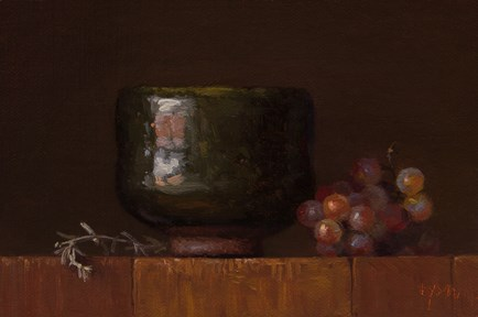"""Desert Sage and Korean Bowl with Grapes"" original fine art by Abbey Ryan"