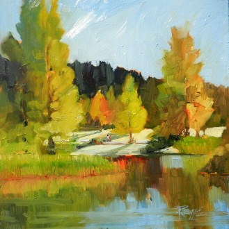 """The Duck Pond at Battle Point Park  plein air , oil , landscape painting by Robin Weiss"" original fine art by Robin Weiss"