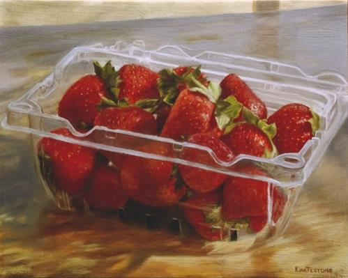 """Strawberries in Sunlight"" original fine art by Kim Testone"