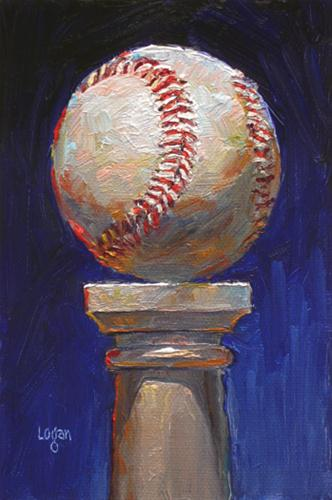 """Baseball on Pedestal"" original fine art by Raymond Logan"
