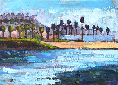 """Dog Beach, OB"" original fine art by Kevin Inman"