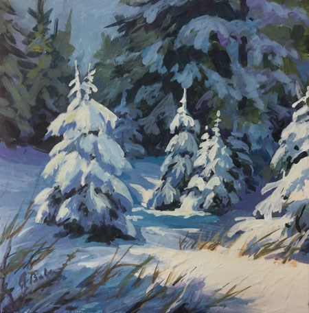 """Snow Trees in Light"" original fine art by gabriele baber"