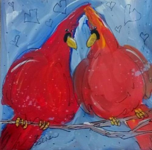 """More Cardinals, Day 13"" original fine art by Terri Einer"