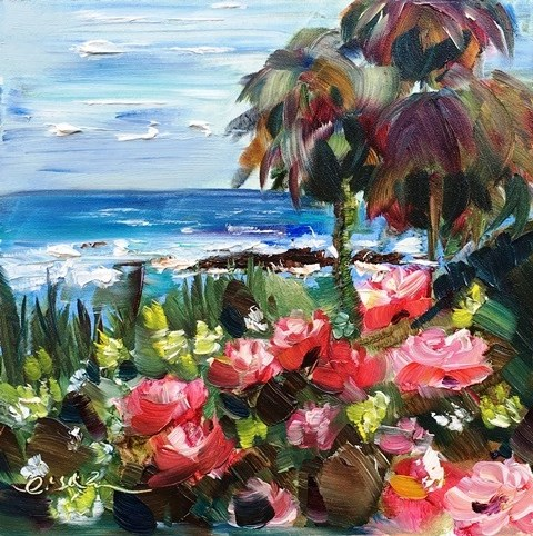 """Roses and Ocean-Laguna Beach"" original fine art by Lisa Fu"