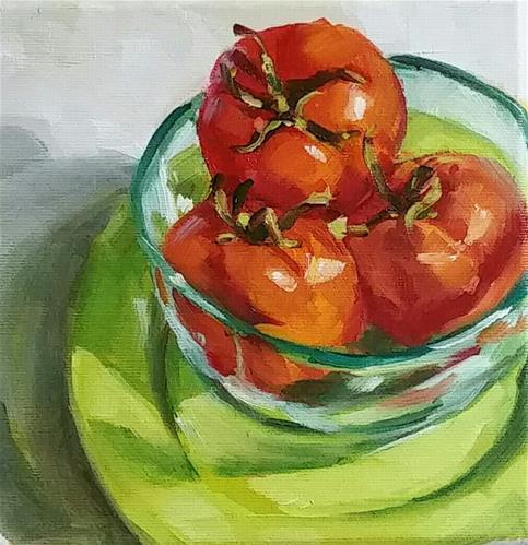 """Tomaten in Glasschale"" original fine art by Sabine Hüning"