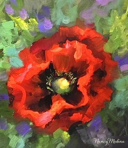 """Crescent Moon Red Poppy and Taking Flight in Life by Texas Flower Artist Nancy Medina"" original fine art by Nancy Medina"