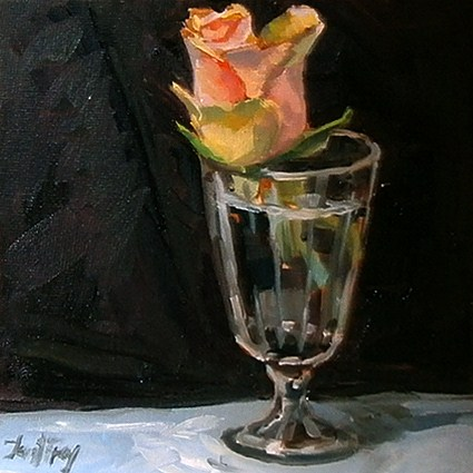 """Rose im Glas"" original fine art by Jurij Frey"