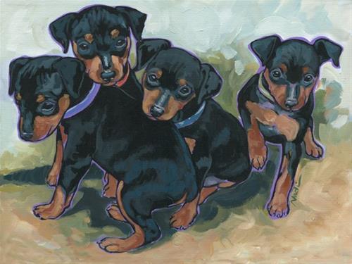 """Min Pin Pups"" original fine art by Nadi Spencer"