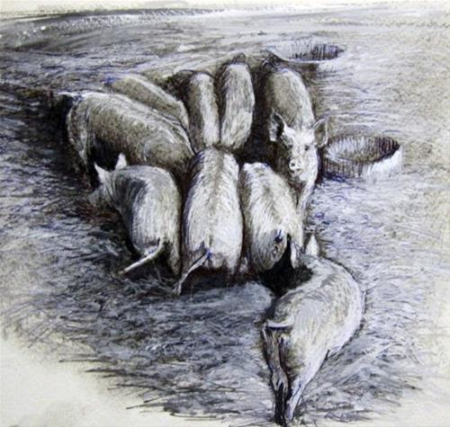 """Farmyard Series IV"" original fine art by Adebanji Alade"