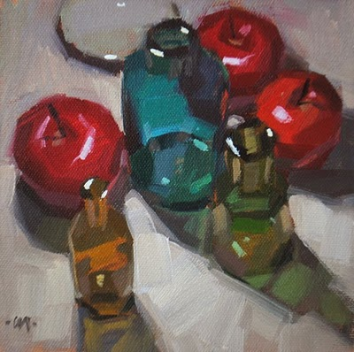 """Bottles For Each"" original fine art by Carol Marine"
