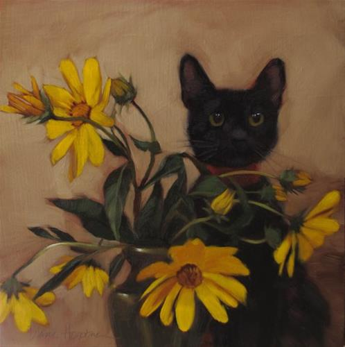 """Black Kitten and Wildflowers"" original fine art by Diane Hoeptner"