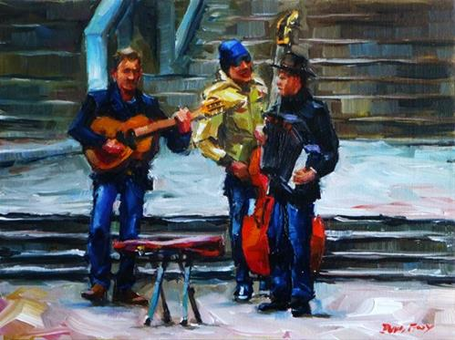 """street musician"" original fine art by Jurij Frey"