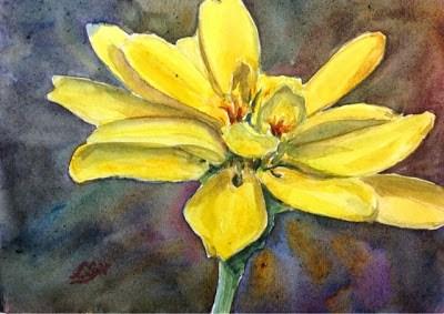 """""""Day 12 - Golden Zinnia"""" original fine art by Lyn Gill"""