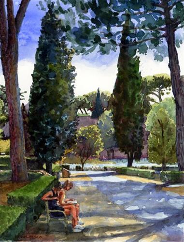 """Watercolor: Baths at Caracalla & an Etsy art sale"" original fine art by Belinda Del Pesco"