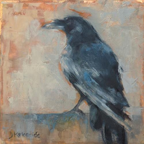 """Waiting - raven painting by Deb Kirkeeide"" original fine art by Deb Kirkeeide"