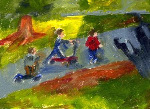 """Playful Trio"" original fine art by Donna Crosby"