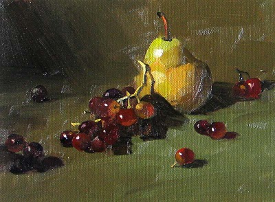 """A Pear & Grapes --- Sold"" original fine art by Qiang Huang"