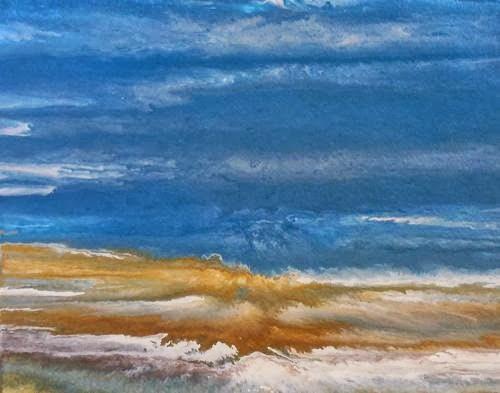 """Original Contemporary Abstract Seascape Beach Painting Beach Dreams-Duchess by Colorado Contempora"" original fine art by Kimberly Conrad"