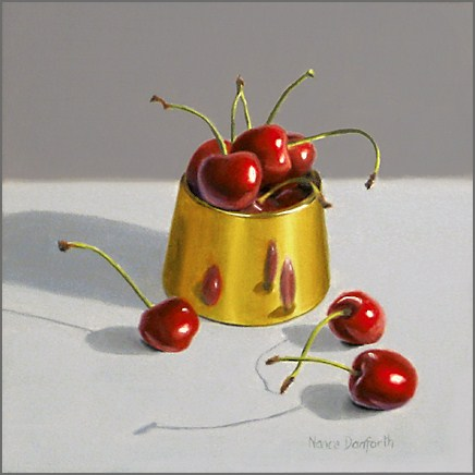 """Cherries in Brass Bowl"" original fine art by Nance Danforth"