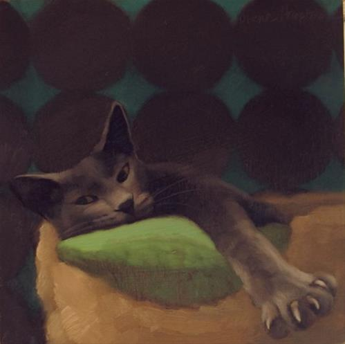"""Sleepy Cat Beau and Chessie, cat mascot for Railway"" original fine art by Diane Hoeptner"