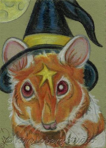 """""""Psycho the Halloween Witch"""" original fine art by Kim Loberg"""