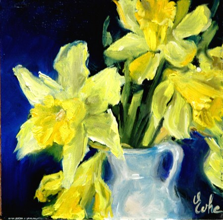 """Les jonquilles"" original fine art by Evelyne Heimburger Evhe"