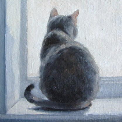 """""""CAT WATCH An Original Oil Painting by Claire Beadon Carnell Thirty Paintings in Thirty Days Challeng"""" original fine art by Claire Beadon Carnell"""